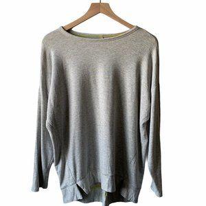 Lou & Grey   Neon Green & Gray Striped Sweatshirt